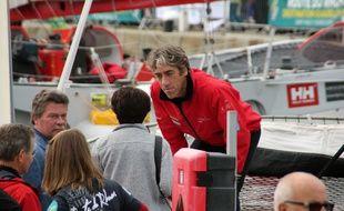 Le skipper Gilles Lamiré au départ de la Route du Rhum à Saint-Malo.