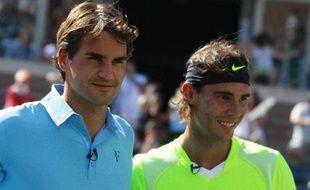 Roger Federer et Rafael Nadal, le 28 août dernier, lors d'une exhibition à New-York.