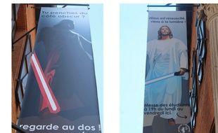 Dark Vador d'un côté (obscur), Jésus de l'autre sur l'affiche installée rue Valade, à Toulouse.