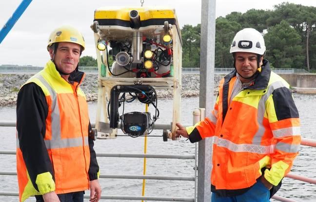 Le robot capte des images en temps réel du barrage de La Chèze, près de Rennes.