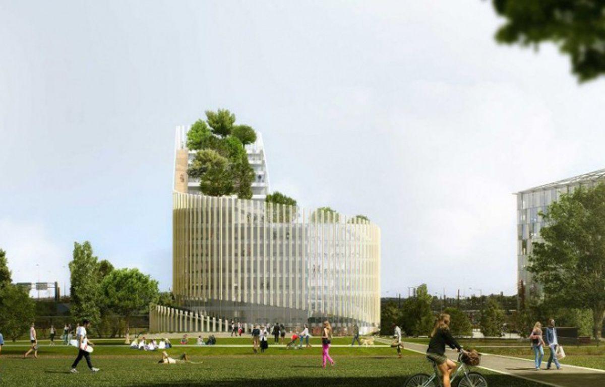 Le bâtiment ShAKE, à Euralille, vu du parc des Dondaines – Agence PCA/Stream