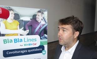 Frédéric Mazzella, président de BlaBlaCar, lors de la présentation de l'appli mobile BlaBlaLines, le 30 mai à la zone d'activités Eurocentre, près de Toulouse.