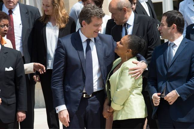 Arnaud Montebourg et Christiane Taubira sur le perron de l'Elysée, le 18 juin 2014.