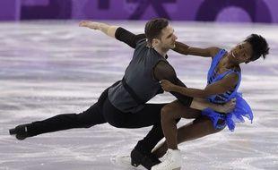 Vanessa James et Morgan Ciprès lors du programme court du patinage en couple, le 14 février 2018.