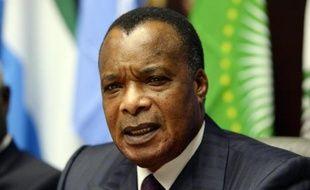 Le président congolais Denis Sassou Nguesso lors d'une conférence de presse le 3 mars 2015 à Bruxelles