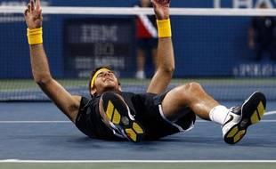 La joie de l'Argentin Juan Martin del Potro après avoir battu le Suisse Roger Federer en finale de l'US Open, New York, le 14 septembre 2009.