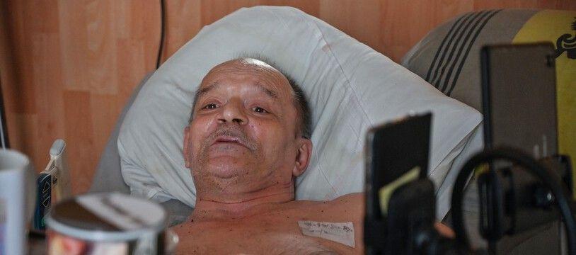 Dijon (Côte-d'OR), le 12 Août 2020. Handicapé, Alain Cocq a demandé à pouvoir bénéficier d'une aide active à mourir.