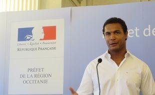 Thierry Dusautoir lors des Rencontres de la Fraternité, le 26 juin 2017 à la préfecture d'Occitanie, à Toulouse.