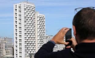 La tour de l'Eperon au Colombier, vue depuis les hauteurs du quartier de la gare de Rennes.
