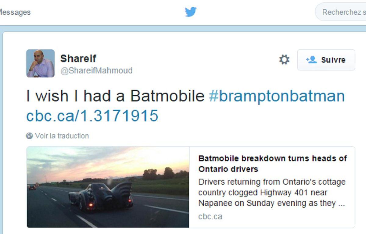 Le bolide circulait tranquillement sur une autoroute, au nord de Toronto... – CBC News sur Twitter