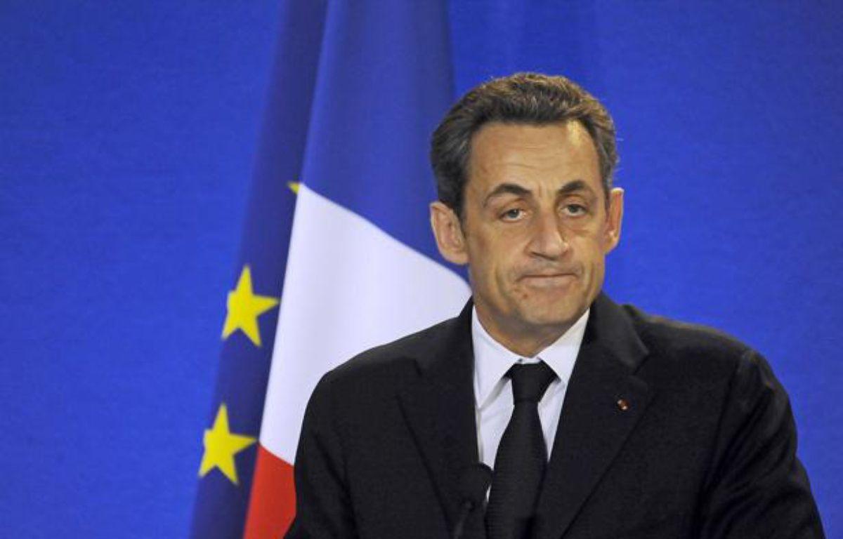 Nicolas Sarkozy le 14 avril 2012, à Perpignan (Pyrénées orientales). – DAMOURETTE/SIPA