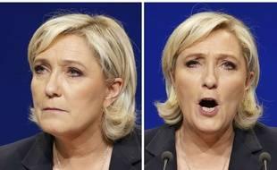 Collage SIPA/20 Minutes de la candidate FN à la présidentielle Marine Le Pen