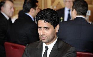 Le président du PSG Nasser Al-Khelaïfi lors d'une réception à l'Hôtel de Ville de Paris le 30 janvier 2013.