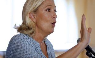 Fréjus, le 7 septembre 2014. Marine Le Pen s'exprime lors de l'université d'été du Front national.