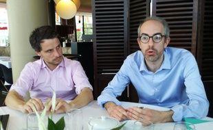 Guillaume Richard et Julien Bainvel, conseillers municipaux (LR) à Nantes.