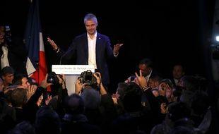 Laurent Wauquiez le jour de son éléction en tant que président LR , le 10/12/2017. AFP PHOTO / JACQUES DEMARTHON