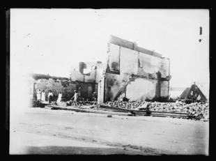 Le quartier de Greenwood, à Tulsa, dans l'Oklahoma, détruit lors du massacre racial qui s'est déroulé du 31 mai au 1er juin 1921.
