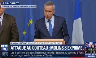 Le procureur de la République François Molins fait le point sur l'enquête après l'attaque au couteau à Paris, le 17 mai 2018.