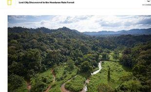 Capture d'écran du site National Geographic à propos d'une cité perdue au Honduras, le 3 mars 2015.