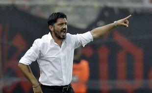 Gennaro Gattuso lors de son éphémère expérience d'entraîneur à l'OFI Crête, le 13 septembre 2014.