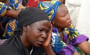 Mères de filles enlevées par les islamistes de Boko Haram à Chibok, au Nigeria, le 5 mai 2014