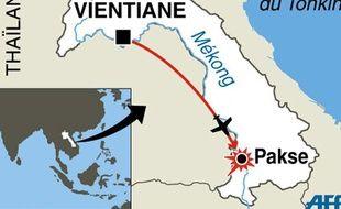 Carte de de localisation du crash qui a fait 44 victimes dont 7 Frtançais au Laos, le 13 octobre 2013.