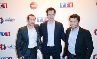 Gregoire Margotton, Frédéric Calenge et Bixente Lizarazu à la conférence de presse du lancement de l'Euro 2016 du groupe TF1, le 17 mai 2016.