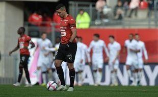 Hatem Ben Arfa, dépité, ici lors de la défaite face à Reims le 28 octobre 2018 au Roazhon Park.