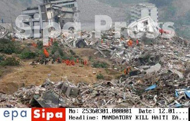 Capture d'écran du Mandatory Kill de l'agence Sipa sur la photo du tremblement de terre au Sichuan légendée dans un premier temps par erreur comme un témoignage de la situation à Port-au-Prince, le 14 janvier 2010.