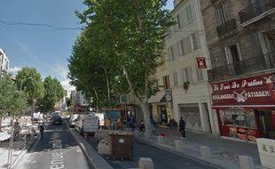 La portion  de l'avenue Camille-Pelletan, à Marseille, où un homme a été abattu le 3 mars 2017