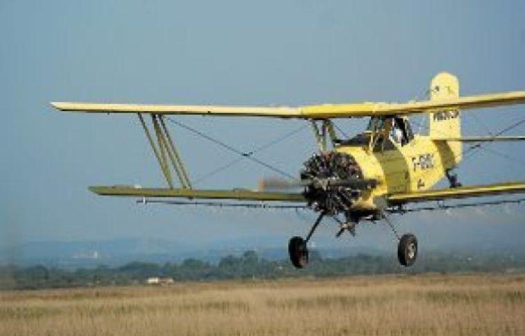 L'avion déverse le produit de démoustication, près de La Grande-Motte.