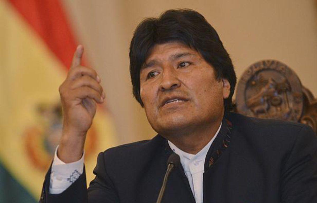 Le président bolivien Evo Morales lors d'une conférence de presse sur le projet de route controversée traversant l'Amazonie, le 26 septembre 2011 à La Paz. – Daniel Miranda/AP/SIPA