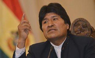Le président bolivien Evo Morales lors d'une conférence de presse sur le projet de route controversée traversant l'Amazonie, le 26 septembre 2011 à La Paz.
