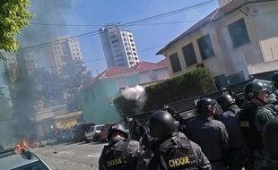 Vingt hommes armés ont cambrioléune usine de Samsung à Campinas (Etat de Sao Paulo) le 7 juillet 2014. Photographie de policiers à Sao Paulo le 12 juin 2014