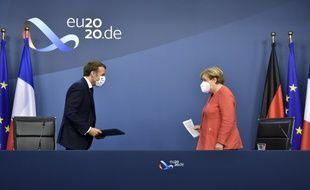 Emmanuel Macron et Angela Merkel à Bruxelles, le 21 juillet 2020. (illustration)