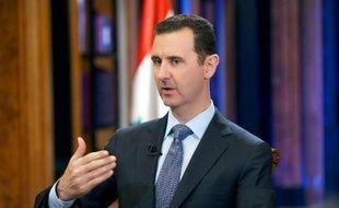 Photo fournie par l'agence de presse syrienne montrant Bachar al-Assad lors de son interview sur la chaîne américaine Fox News, le 19 septembre 2013