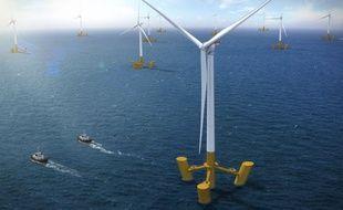 Image de synthèse du futur parc éolien flottant de Groix.