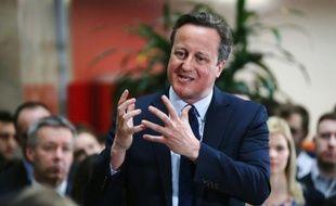 Le Premier ministre britannique David Cameron, le 5 avril 2016 à Birmingham (centre de l'Angleterre), lors d'une séance de questions/réponses sur le référendum à venir sur l'UE