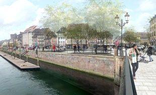 Comme dans d'autres villes de France, Strasbourg et Mulhouse vont rendre les balades au bord de l'eau plus agréables. Projection des quais strasbourgeois.
