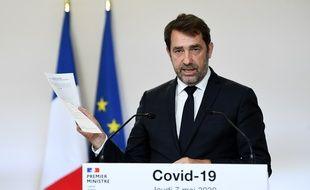 Le ministre de l'Intérieur Christophe Castaner à Matignon le 7 mai 2020 lors d'un point presse du gouvernement sur les conditions du déconfinement.