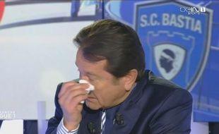 Le président du FC Nantes Waldemar Kita en larmes sur le plateau de bein Sports.