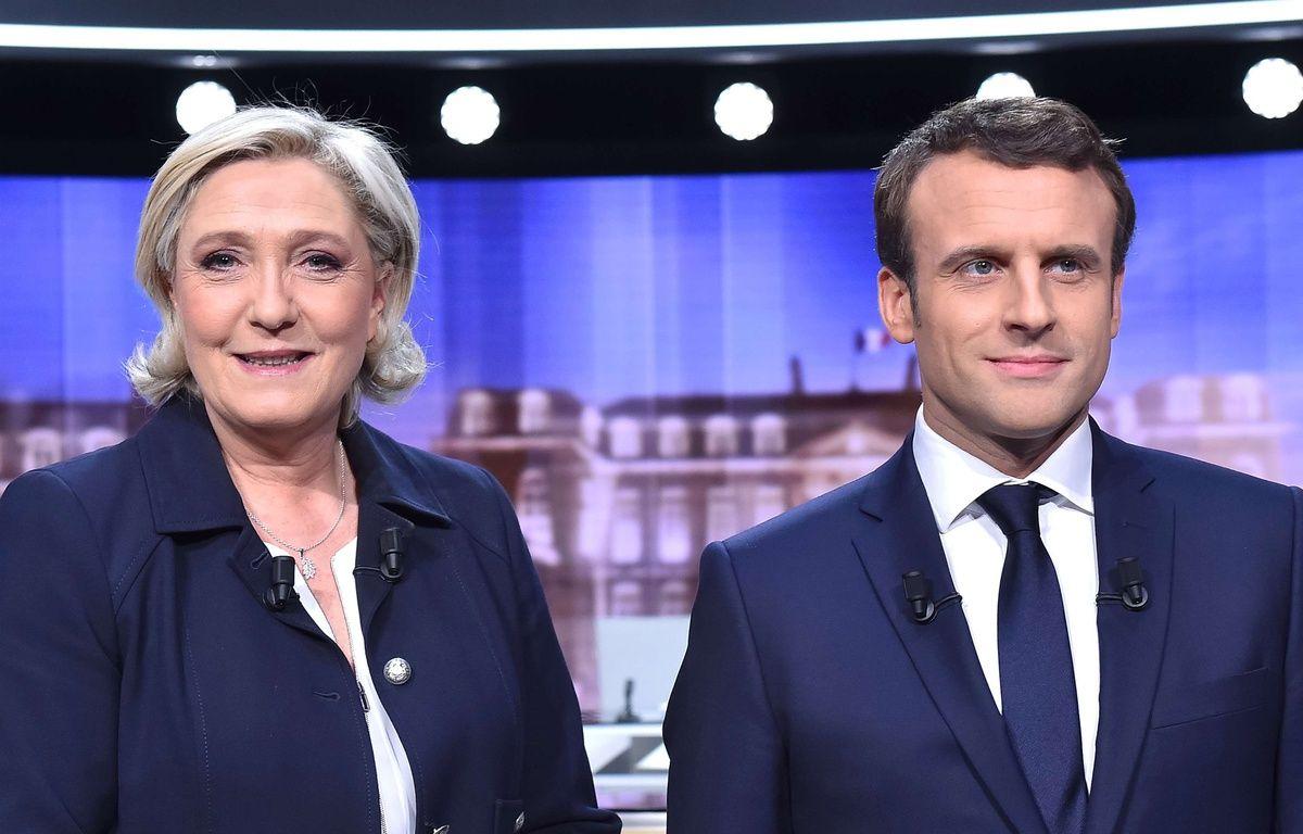 Marine Le Pen et Emmanuel Macron avant le débat de l'entre deux tours, le 3 mai 2017. – CHAMUSSY/SIPA