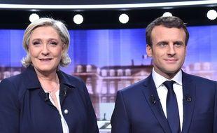 Marine Le Pen et Emmanuel Macron avant le débat de l'entre deux tours, le 3 mai 2017.
