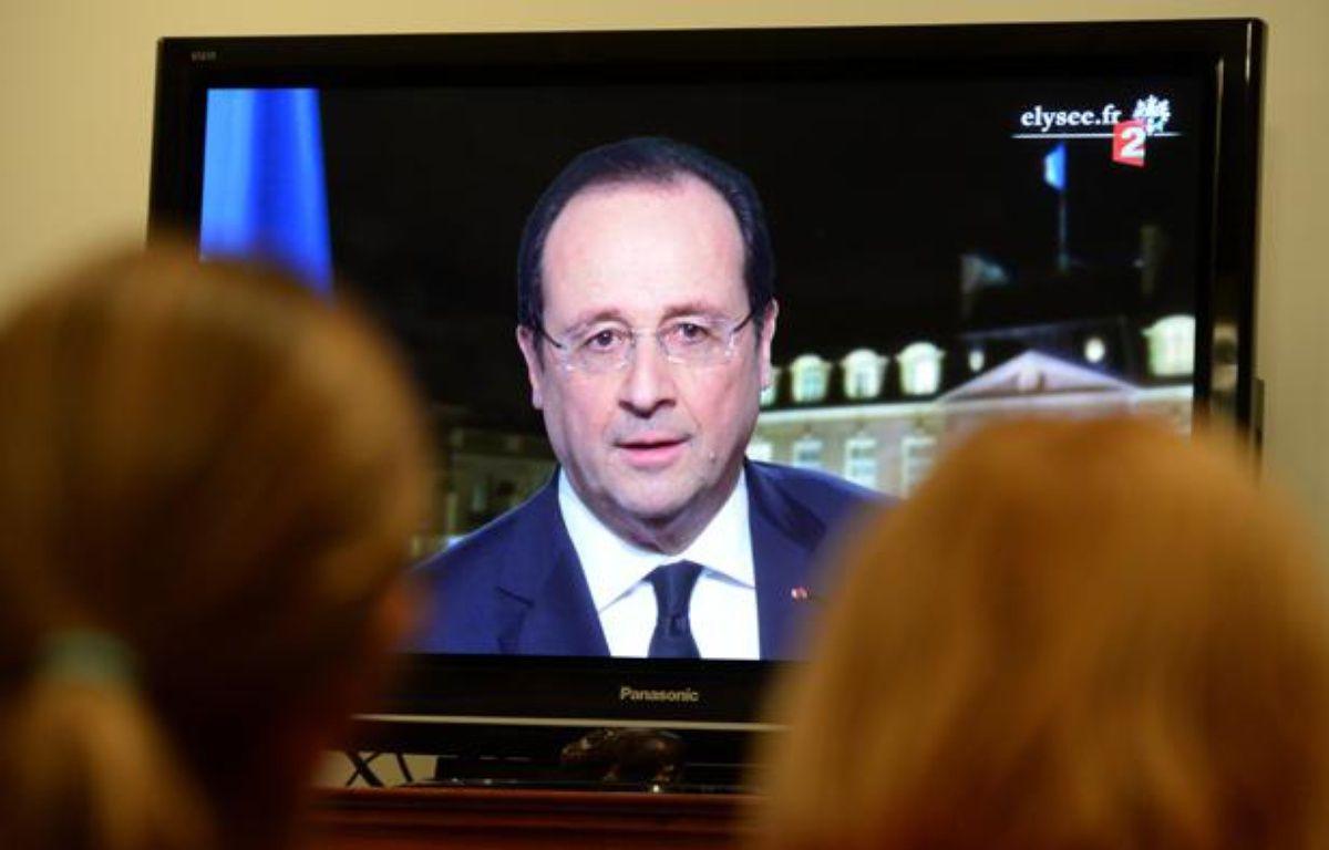 François Hollande la télévision pendant ses voeux, le 31 décembre 2013. – Frederic Sierakowski/ISOP/SIPA