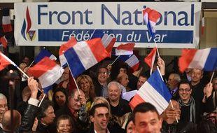 Le Front national après l'annonce des résultats des départementales, le 22 mars 2015.