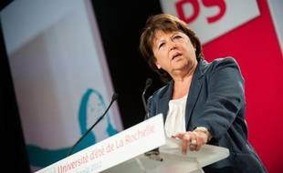 Martine Aubry lors de son discours de clôture de l'université d'été de La Rochelle, le 26 août 2012.