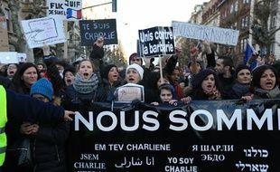 Strasbourg le 11 janvier 2015. Marche Republicaine reunissant prËs de 40.000 personnes.