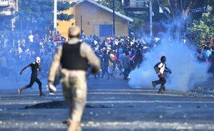 Affrontements entre la police et les manifestants à Port-au-Prince, le 13 février 2019.
