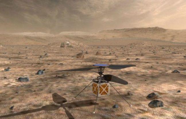 Reproduction artistique de l'hélicoptère de moins de deux kilogrammes que doit embarquer le rover Mars Perseverance de la NASA qui doit partir courant juillet 2020.