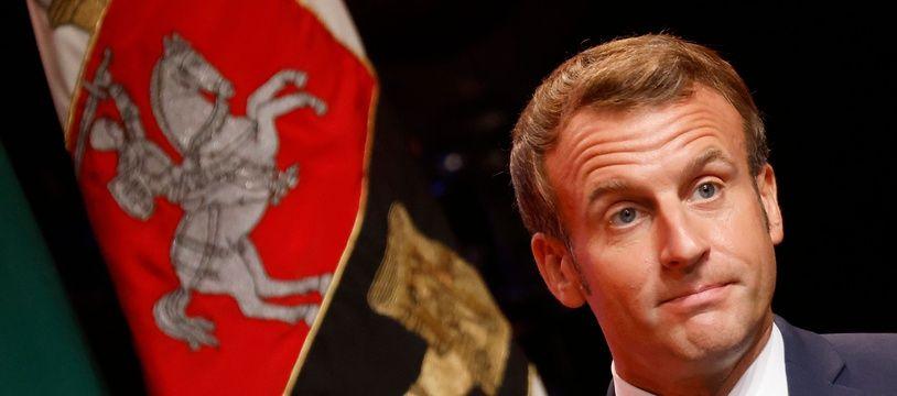 Emmanuel Macron ce mardi 29 septembre à Vilnius en Lituanie. (Photo  Ludovic MARIN / AFP)